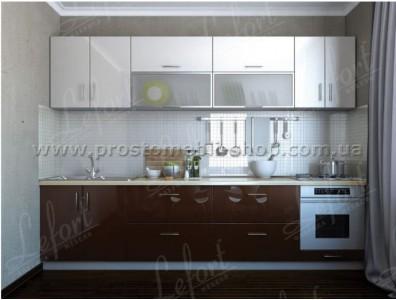 Кухня Делис 3,0 МДФ Белый + Шоколад