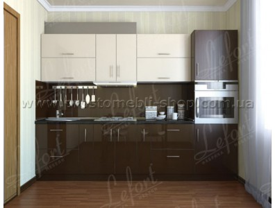 Кухня Делис 3,0 МДФ Ваниль - Шоколад