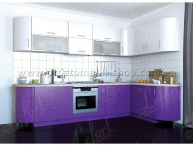 Кухня Делис 310 х 160 см МДФ Белый + Фиолет