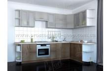 Кухня Делис 300 х 170 см. МДФ Штрокс светлый темный