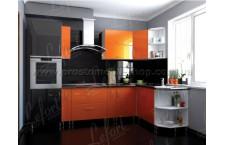 Кухня Делис 280 х 160 см МДФ Оранж + черный