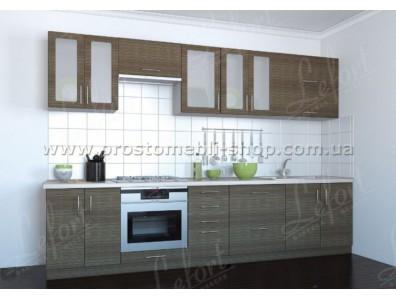 Кухня Делис 300 см.МДФ Штрокс темный